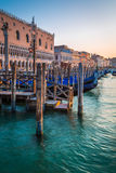 Blue water in a canal in Venice Royalty Free Stock Photo