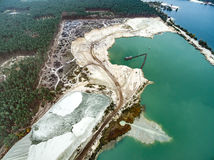 Blue water in career. Aerial view - blue water in pond, sandy career Stock Photography