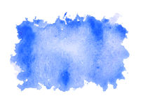 Blue water color paint rough square shape texture on white background stock illustration