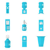 Blue water coolers flat icons set Royalty Free Stock Photos