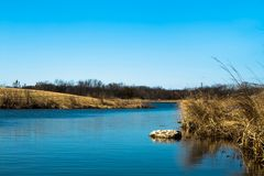 Blue water creek in a sunny but cold day royalty free stock photo