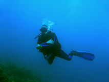 Blue water diver sipadan borneo Stock Image