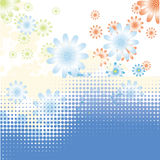 Blue water dots and flower Royalty Free Stock Image