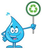Blue Water Drop Cartoon Mascot Character Holding A Recycling Sign Stock Photo
