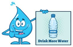 Blue Water Drop Cartoon Mascot Character Pointing A Drink More Water Sign Stock Images