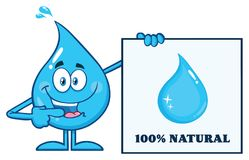 Blue Water Drop Cartoon Mascot Character Pointing A 100 Percent Natural Sign. Illustration Isolated On White Background Royalty Free Stock Photography