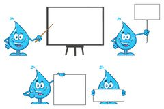 Free Blue Water Drop Cartoon Mascot Character Set 3. Collection Stock Image - 119668121