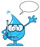 Blue Water Drop Cartoon Mascot Character With Snorkel Waving For Greeting Royalty Free Stock Photo