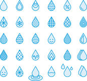 Blue water drop icons. Different illustrations of blue water drops on a white background Stock Image