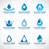 Blue Water drop logo vector set design Stock Images