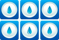 Blue water drop set Stock Images