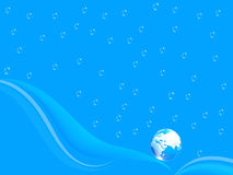 Blue water drops background and earth Stock Images
