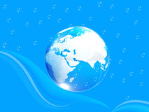 Blue water drops background and earth Stock Image