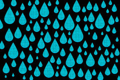 Blue water drops on black Royalty Free Stock Photography