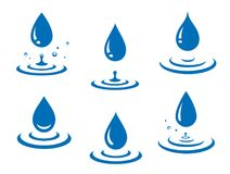 Blue water drops icons set and splash. With splatters on white background vector illustration