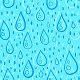 Blue water drops rainy vector seamless pattern Stock Photo