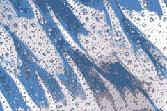 Blue water drops on a shiny blue surface vector illustration