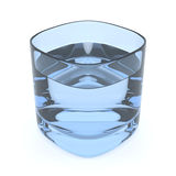 Blue Water Glass. 3D render of a light blue glass of fresh water on white background Royalty Free Stock Photo