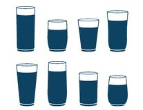 Blue water glass set Royalty Free Stock Photos