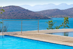Blue water of Greece. Blue swimming pool at Mirabello Bay in Greece Stock Photo