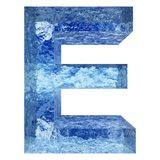 Blue water or ice font part of colletion. Concept conceptual 3D illustration blue water or ice font part of collection isolated on white background,metaphor to Royalty Free Stock Images
