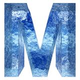 Blue water or ice font part of colletion. Concept conceptual 3D illustration blue water or ice font part of collection isolated on white background,metaphor to Royalty Free Stock Image
