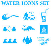 Blue water icons set Stock Images