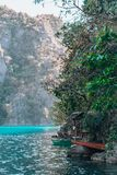 Blue water of lake Kayangan. Coron island tour. royalty free stock photography