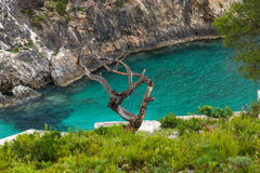 Blue water Limnionas beach bay at Zakynthos island Stock Image