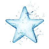 Blue water or liquid star. Closeup of clear blue star of water with droplets, white background Royalty Free Stock Photo