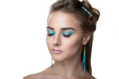 Blue water makeup. Young beautiful woman lady model woman actress. Luxury bright stylish look. Chic impressive appearance. Perfect face smoky eyes makeup brown Royalty Free Stock Photo