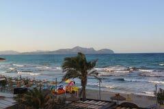 Blue water of Mediterranean stormy sea. Windy summer day. Spain. Palma de Mallorka. Majorka. Beautiful landmark backgrounds Royalty Free Stock Photos