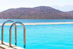 Blue water of Mirabello Bay. In Greece Royalty Free Stock Photos