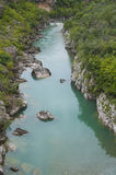 Blue water in the mountain river. Clear water of Moracha river, Montenegro Stock Image