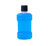 Blue water of mouthwash bottle isolate
