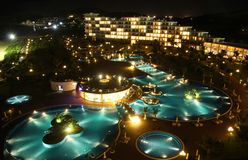 Swimming pool view from the roof top stock image