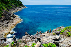 Blue water of the ocean in view point of Koh Tachai, Similan Islands, Thailand. Stock Photos