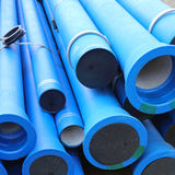 Blue Water Pipes. Blue Plastic Pipes For New Municipal Water System Royalty Free Stock Image