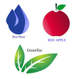 logotype vector set blue water red apple green tea. Blue water  red apple and green tea Stock Image