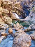 Blue water of river Brittle in trail known as Fairy pools. The mountain river cut. In soft rocks colorful pools. Bellow the mountains of Glenbrittle on Isle of stock image