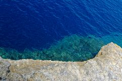 Blue water and the rock. Clear blue water and the rock from the top. Island Gozo, Malta stock images