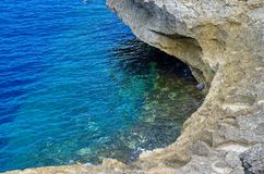 Blue water and the rock near to Azure Window. Island Gozo, Malta royalty free stock image