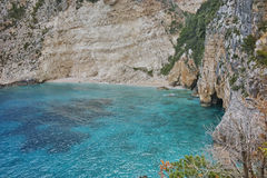 Blue water and rocks of beach at Zakynthos island Stock Photography