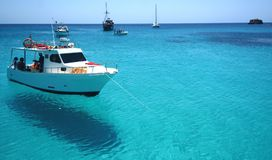 Blue water in the sea of Lampedusa royalty free stock image