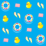 Blue water seamless pattern. Seamless Pattern with Blue water, pink soap and yellow duckling Royalty Free Stock Photos