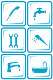 Blue water set with isolated faucet icon royalty free illustration