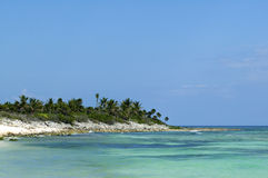 Blue water and shoreline of cozumel Royalty Free Stock Photo