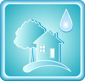 Blue water sign with house and tree. Pure blue water sign with house tree and drop Stock Photography