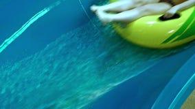 Blue water slides in summer aqua park stock footage
