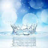 Blue water splash on bokeh background. 3d rendering Stock Images